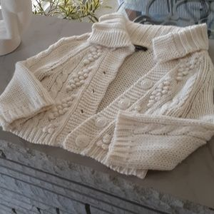 express quarter length cropped button up sweater